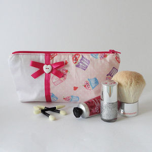 Cupcake And Polka Dot Fabric Makeup Bag - make-up & wash bags