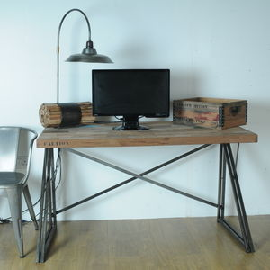 Boatwood Industrial Steel Reclaimed Wood Desk - furniture