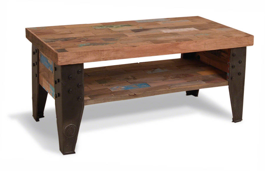 Reclaimed wood steel industrial coffee table by made with love designs ltd Recycled wood coffee table
