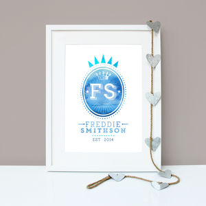 Personalised Crowned Initials Wall Art Print