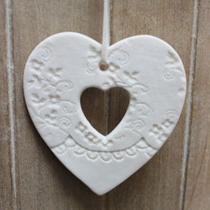 White Porcelain Cut Out Heart Decoration - hanging decorations
