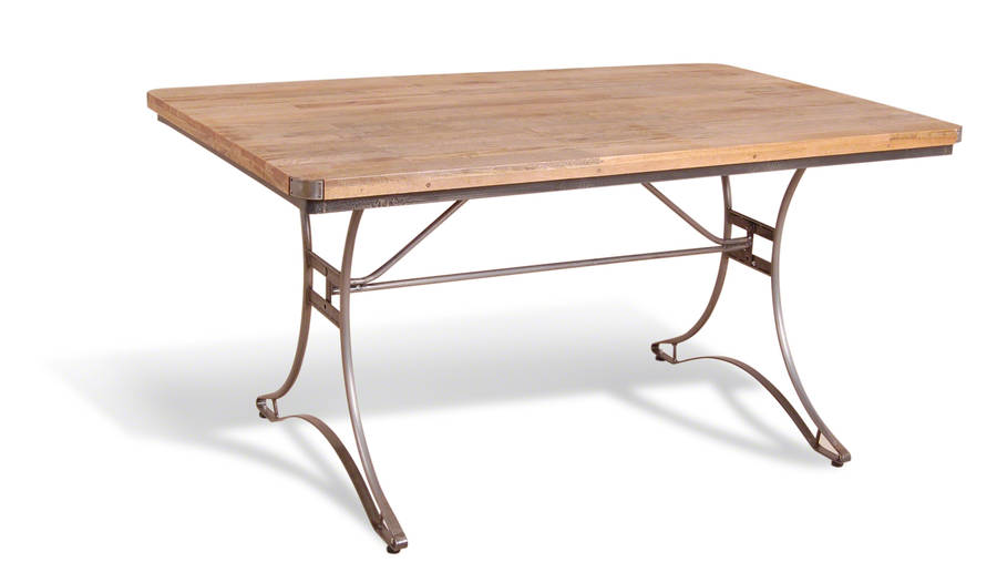 Industrial steel and wood dining table by made with love for Steel dining table design