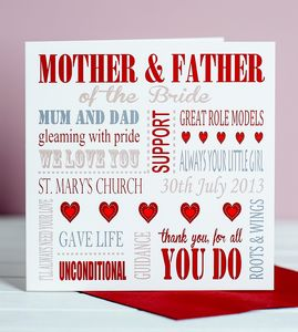 Personalised Mother Of The Bride Card - wedding thank you gifts