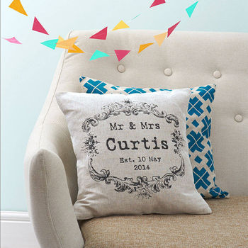 Vintage Mr & Mrs cushion in light linen cotton