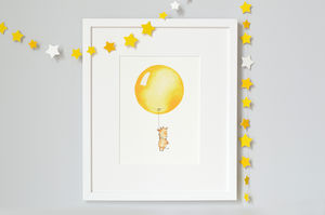 Personalised Bright Yellow Balloon Print - children's pictures & paintings
