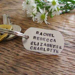 Personalised Family Names Keyring Tag - gifts for new parents
