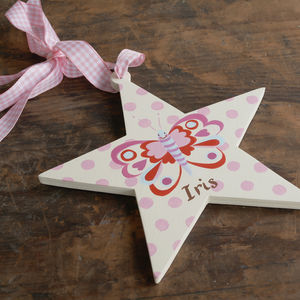 Personalised Butterfly Star Decoration - baby & child