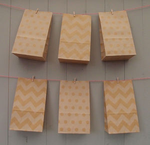 Stand Up Natural Pattern Paper Bags Medium