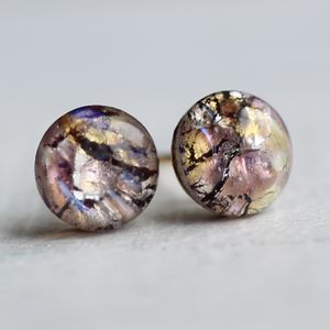 Amethyst Opal Stud Earrings - earrings