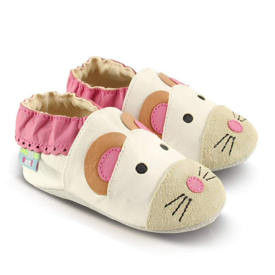mouse soft leather baby shoes by snuggle feet | notonthehighstreet.com