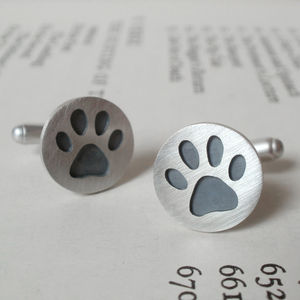 Oxidised Paw Print Cufflinks In Sterling Silver