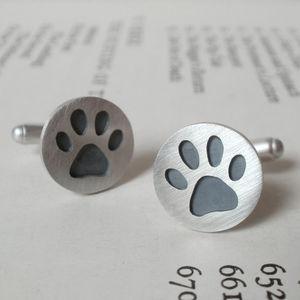 Oxidised Paw Print Cufflinks In Sterling Silver - cufflinks