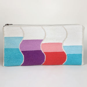 Embroidered Ombre Wave Clutch Purse