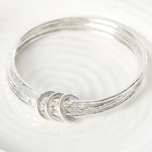 Sterling Silver Hammered Triple Ring Bangle