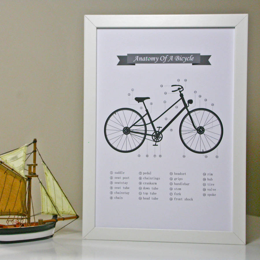 Anatomy Of A Bicycle Print By Moonglow Art Notonthehighstreet