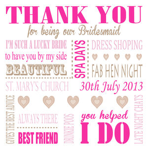 Personalised Thank You Bridesmaid Card - thank you cards
