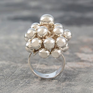 Adjustable Solid Silver Ball Cluster Ring