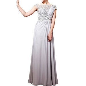 Soft Grey Delicate Lace Chiffon Evening Dress - dresses