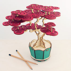 Flat Packed Cherry Bonsai Tree Kit - ornaments
