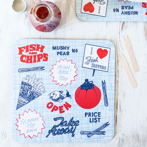 Retro Fish And Chips Placemat