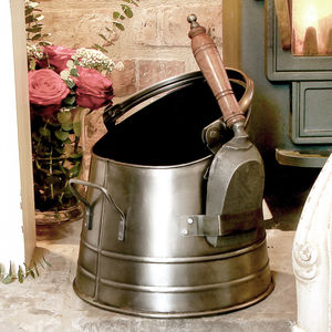Antique Silver French Coal Bucket And Shovel - living room