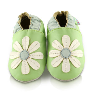 Stitched Daisy Soft Leather Baby Shoes