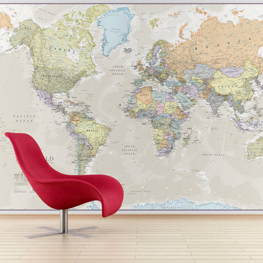 Giant classic world map mural by maps international giant classic world map mural gumiabroncs Image collections