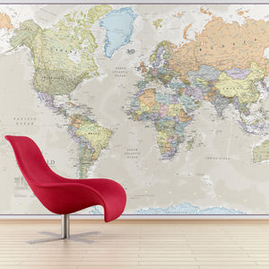 Giant Classic World Map Mural - living room