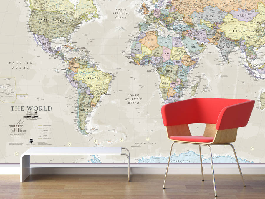 giant classic world map mural by maps international