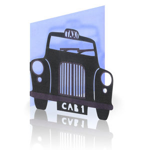 Black London Taxi Laser Cut Greeting Card - all purpose cards