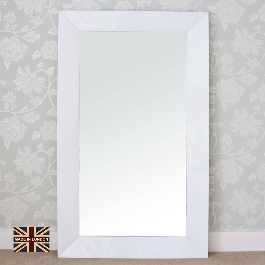 Modern white glass mirror by decorative mirrors online for White framed mirror