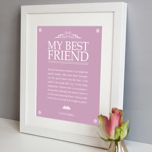 Personalised 'My Best Friend' Print - typography