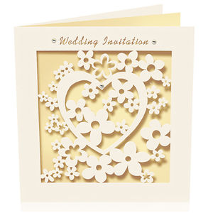 Pack Of Six Heart Laser Cut Wedding Invitations
