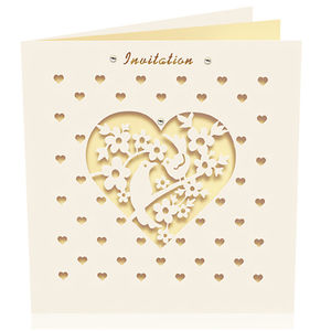 Pack Of Six Laser Cut Bird Invitations - wedding stationery