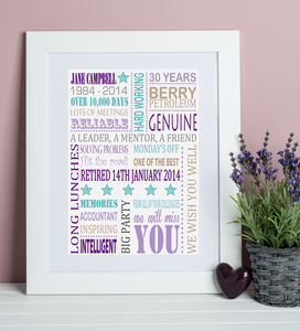 Personalised Retirement Print - retirement gifts