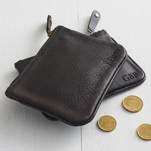Personalised Unisex Leather Coin Purse - top leather accessories