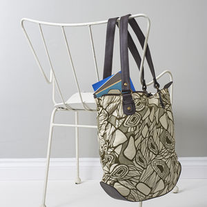 Charlotte: Canvas & Leather Tote Bag - shoulder bags