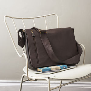 George: Large Men's Leather Messenger