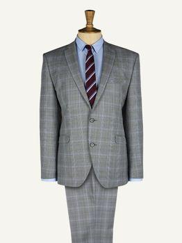 Men's Grey Checked Suit