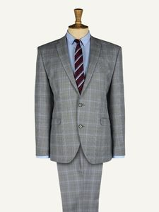 Men's Grey Checked Suit