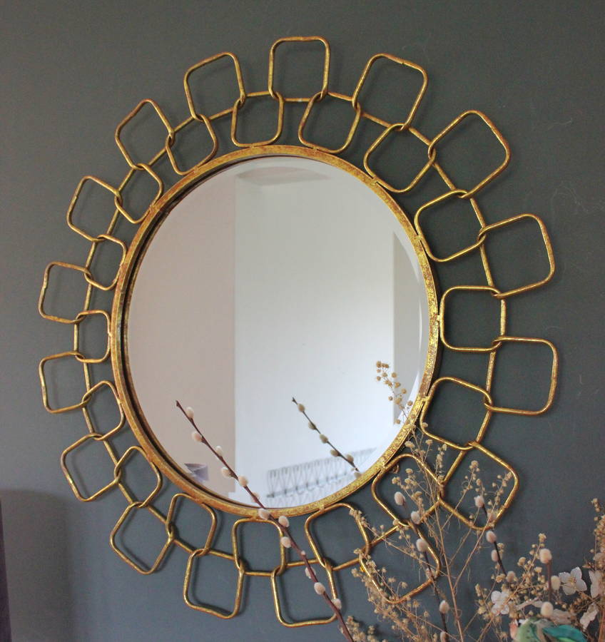 gold chain link mirror by the forest & co ...