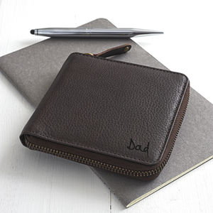 Square Zipped Leather Wallet With Coin Pocket
