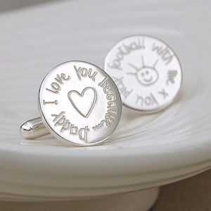 Personalised 'Love You Because' Silver Cufflinks