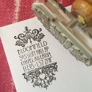 Personalised 'Filigree' Address Stamp - wedding stationery
