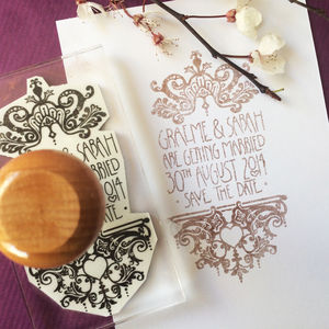 Personalised 'Filigree' Wedding Stamp