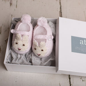 Hand Crochet Bunny Shoes - christening wear