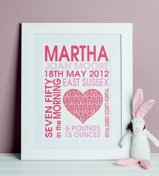 Baby Girl Heart Birth Print