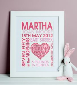 Baby Girl Heart Birth Print - pictures & prints for children