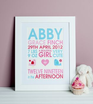 Personalised Baby Girl Birdie Birth Print