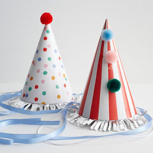 Set Of Eight Stripes And Spots Party Hats